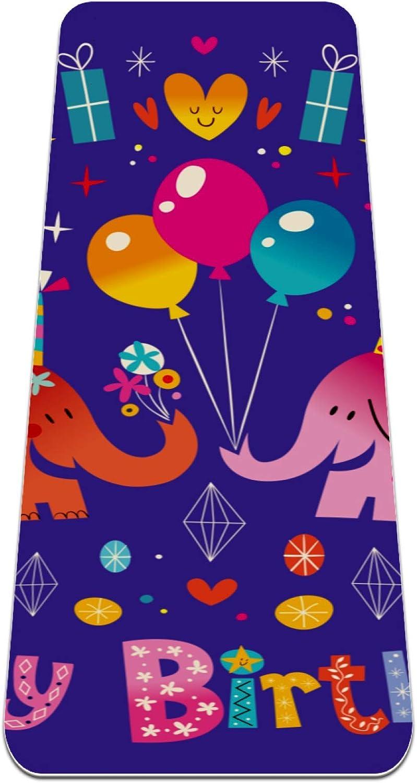 Happy Birthday Elephant Max 80% OFF Balloon Yoga Mat Thick Slip 6mm Non Eco- Max 84% OFF