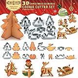 kuaetily 3D Ausstechformen Weihnachten Keks Ausstecher Fondant für Plätzchenformen Edelstahl Cookie Cutters in verschiedenen Formen (8 teilig)