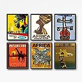 Einzigartiges Set aus 6 afrikanischen Kunstdrucken