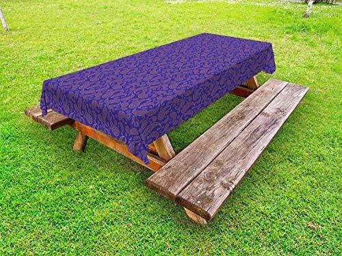 ABAKUHAUS Paisley Tafelkleed voor Buitengebruik, Oriental Perzische cultuur, Decoratief Wasbaar Tafelkleed voor Picknicktafel, 58 x 84 cm, Blue Violet Paars