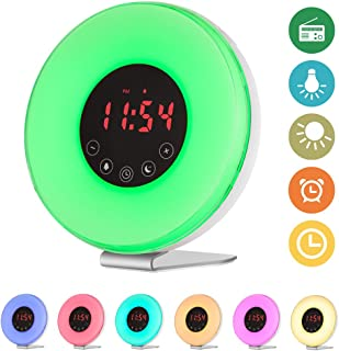 Sunrise Alarm Clock, SZCTKlink Wake Up Light Alarm Clock Nature Night Light With 7 Colors Sunrise Simulation Alarm Clock Nature Sounds, FM Radio, Touch Control, Atmosphere Lamp, Bedside Lamp