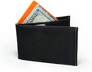 SlimFold Minimalist RFID Wallet - Thin, Durable, and Waterproof Guaranteed - Made in USA - Nano Size Black with Gray Stitching