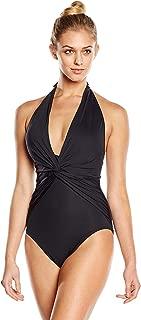 Women's One Piece Plunge Halter Swimsuit Black 6