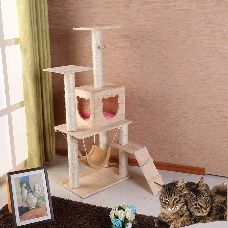 Hexiansheng Cat Climb Trees Solid wood cat Litter cat climbing cat toy Pet Supplies Cat climbing shelf solid wood cat nest 60  40  135cm