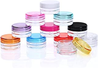 NiceWave Cosmetic Sample Empty Container Container Cosmetic Jars with MultiColor Lids 10 Pcs for Makeup Cosmetic Samples, Small Jewelry, Beads, Nail Charms and Accessories Shine and Beautiful