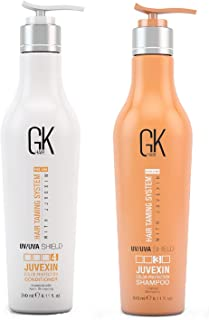 Global Keratin GKhair Shield Shampoo and Conditioner Duo (240ml/ 8.11 fl. oz) | Against Sun, UV/UVA Rays | For Dry, Split Ends with Aloe Vera and Natural Oils - All Hair Types