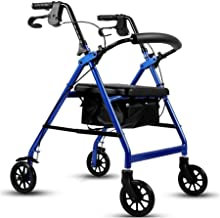 PXY Walking Frame,Folding 4 Wheel Rollator Walker with Padded Seat, Lockable Brakes, Ergonomic Handles, Limited Mobility A...