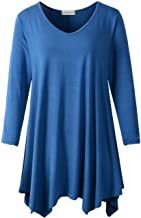 LARACE Plus Size Tunic Tops for Women Asymmetrical 3/4 Sleeve Shirts V Neck Flowy Blouse for Leggings