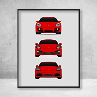Porsche Cayman Poster Print Wall Art of the History and Evolution of the Cayman Generations (Car Models: 718/981/ 987) in Color