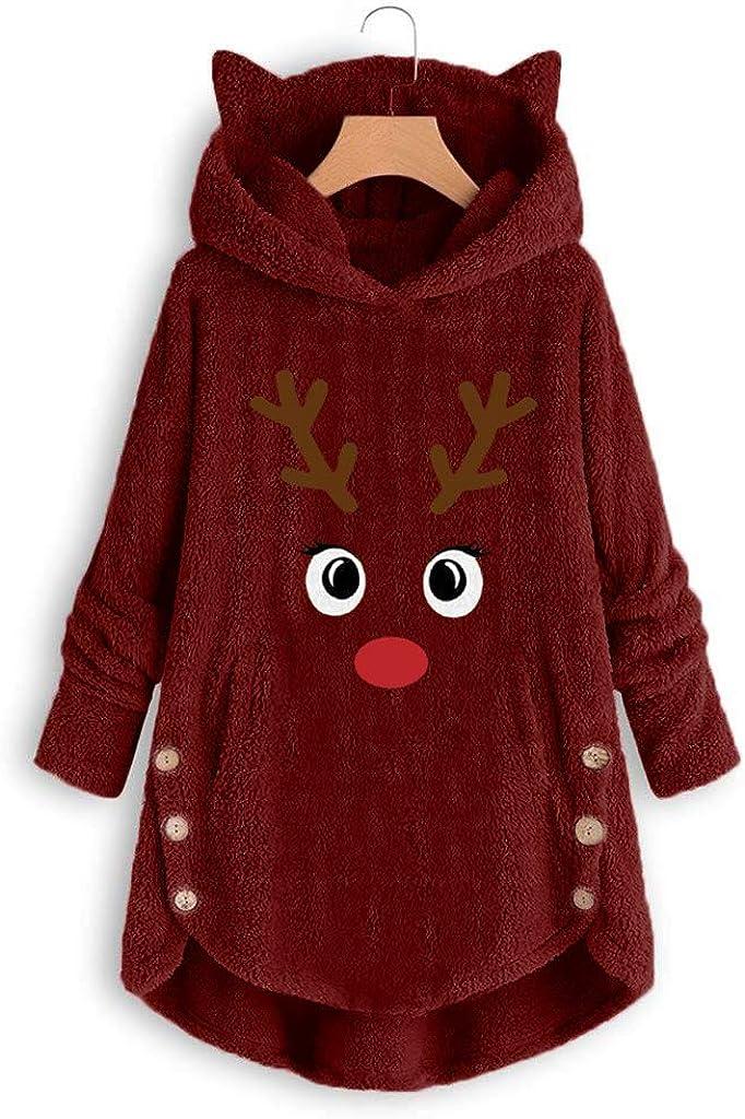 ITISME Teddy Hoodie Damen Plüschmantel mit Taschen Solide Sweatershirt Pullover Outwear Damen Warm Fleecejacke Winter Mantel mit Großem Kragen A-wein