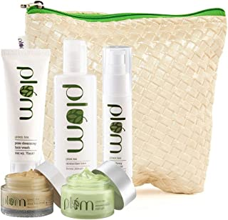 Plum Green Tea Face Care Kit With Kit Bag and Plum Green Tea Renewed Clarity Night Gel | For Oily, Acne Prone Skin | Green...