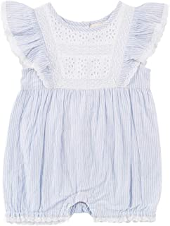 2483 Chambray Twin Stripes Babies Lisa Eyelet & Ruffle Front Romper