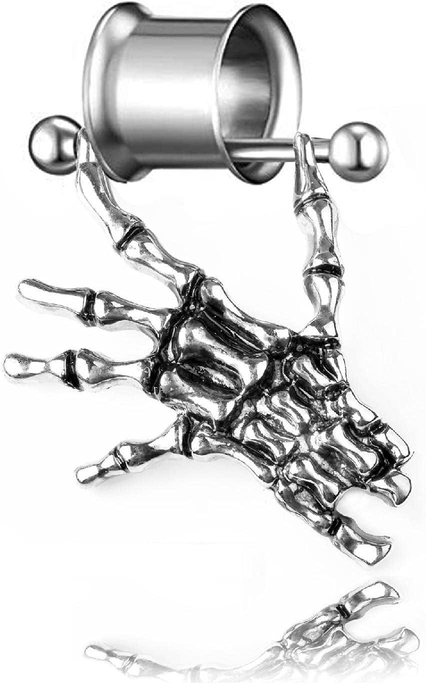 X/L Ear Expander, Unisex Skeleton Hand Pendant Barbell Ear Flesh Tunnel Expander Body Piercing Jewelry Ear Plugs Stretchers Expanders (Size : 20mm)