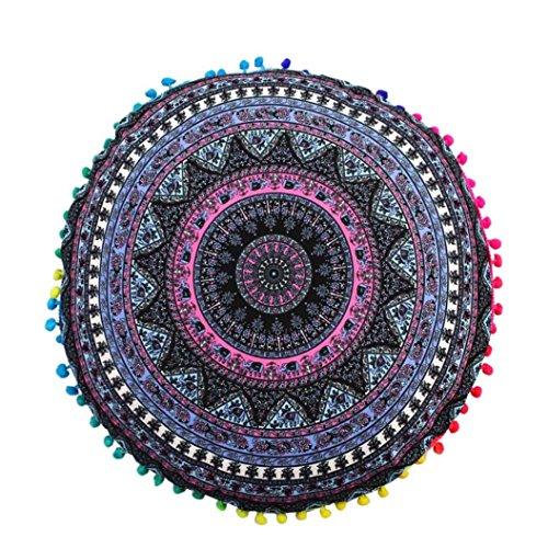 LuckyGirls Kissenbezug 43 x 43 cm Indische Mandala Boden Kissen runde böhmische Kissen Abdeckung (H)