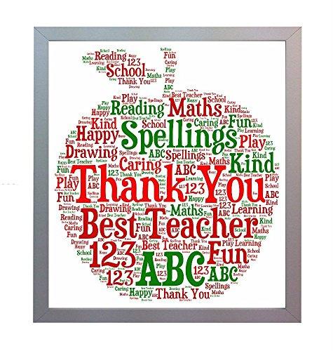 Affiche Inscription Thank You Teacher Print. Photo A4 cadeau idéal pour un so...