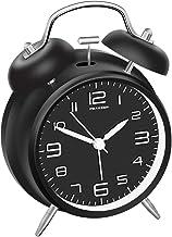 """پیکاپ 4 """"ساعت زنگ دار دوقلو با شماره گیری استریوسکوپی، نور پس زمینه، ساعت با زنگ هشدار باتری باتری (سیاه و سفید)"""