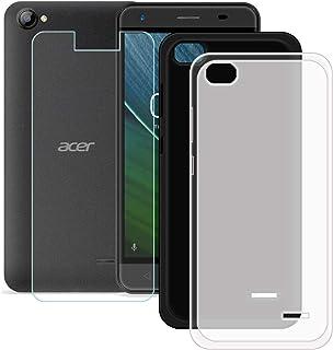 YZKJ [2 stycken skal för Acer Liquid Z6E skydd svart halvlätt mjukt silikon skyddande skal TPU skal skal 1 x pansarglas sk...