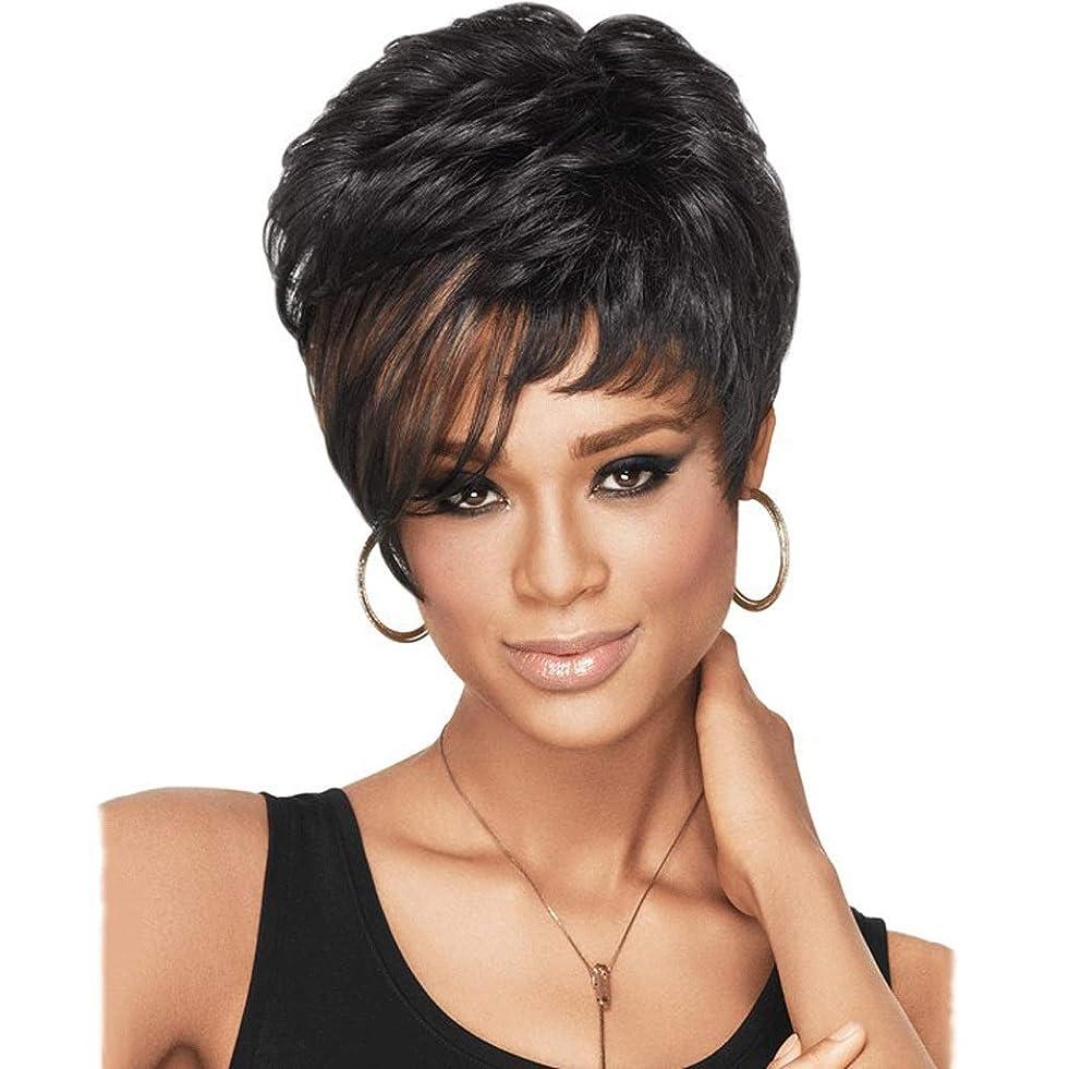 黒人または白人の女性のための黒のかつら、斜め前髪を持つ短いストレートかつらナチュラルカラー耐熱合成かつら (Color : Black)