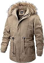 YANYUN Coats for Men with Fur Hood Zipper Winter Warm Fashion Medium Long Sherpa Lined Thicker Cotton Parka Jacket Coat 3XL