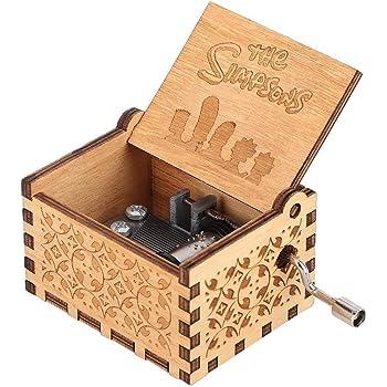 Hztyyier Caja de música mecánica de Madera Caja de música patrón Tallado con Resorte de manivela para Regalos de decoración del hogar para cumpleaños(Los Simpsons): Amazon.es: Hogar