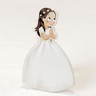 comprar comparacion Mopec Pack de Figuras 2D Niña Comunión Vestido Largo y Corona, Madera, Blanco, 0.5x7x11 cm, 6 Unidades