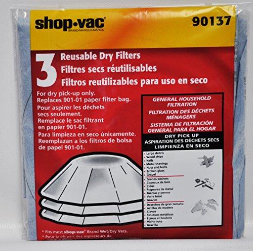Shop Vac 3 Reusable Dry Filters 90137