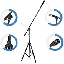 Strongest HIgh-Performance Adjustable Microphone Suspension Boom Stand | Tripod Mic Stand Mic Adapter & Clamp - Stage, Karaoke Studio, Durable Steel Easy Foldable Height from 51.0'' - 90.5'' by Pyle