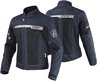 SSPEC バイク用 デニム メンズ スタンドカラー ジャケット オールシーズン通用 プロテクター付き 春 夏 秋用(ブルーS)