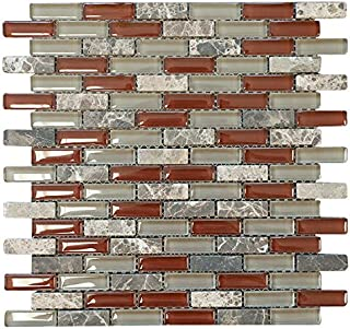 Volcano Red Crystal Glass Mosaic Tile Brick Pattern (Glossy&Matte) for Bathroom and Kitchen Walls Kitchen Backsplashes by Vogue Tile