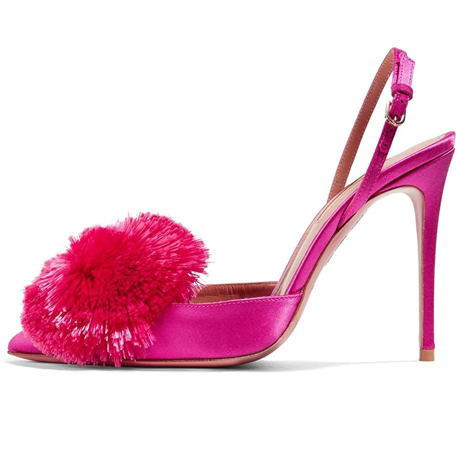 Kmeioo Pumps for Women,Puff Pompom High Heels Pointed Toe Slingback Pumps Stiletto Heel Sandals Evening Party Wedding Shoes