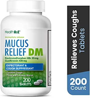 HealthA2Z Mucus Relief DM, 200 Count,Dextromethorphan HBr 20mg Guaifenesin 400mg,Generic Mucinex DM Cough,Immediate Release,Uncoated