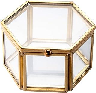 Feyarl Joyero de cristal para joyas con forma de anillo y aretes, caja de cristal preservada