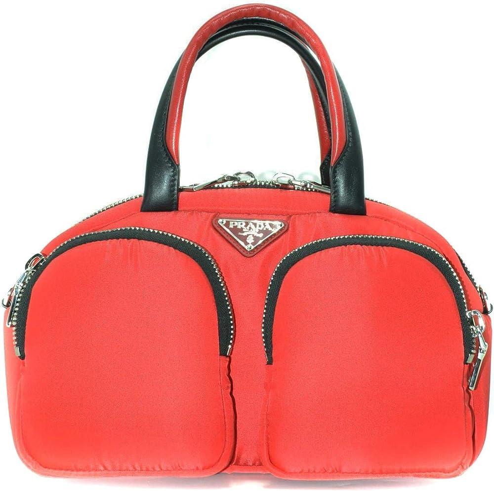 Prada,borsa da donna,in nylon,chiusura con zip a doppio cursore, doppio manico in pelle bicolore 1BB062OOO2CKI F0927