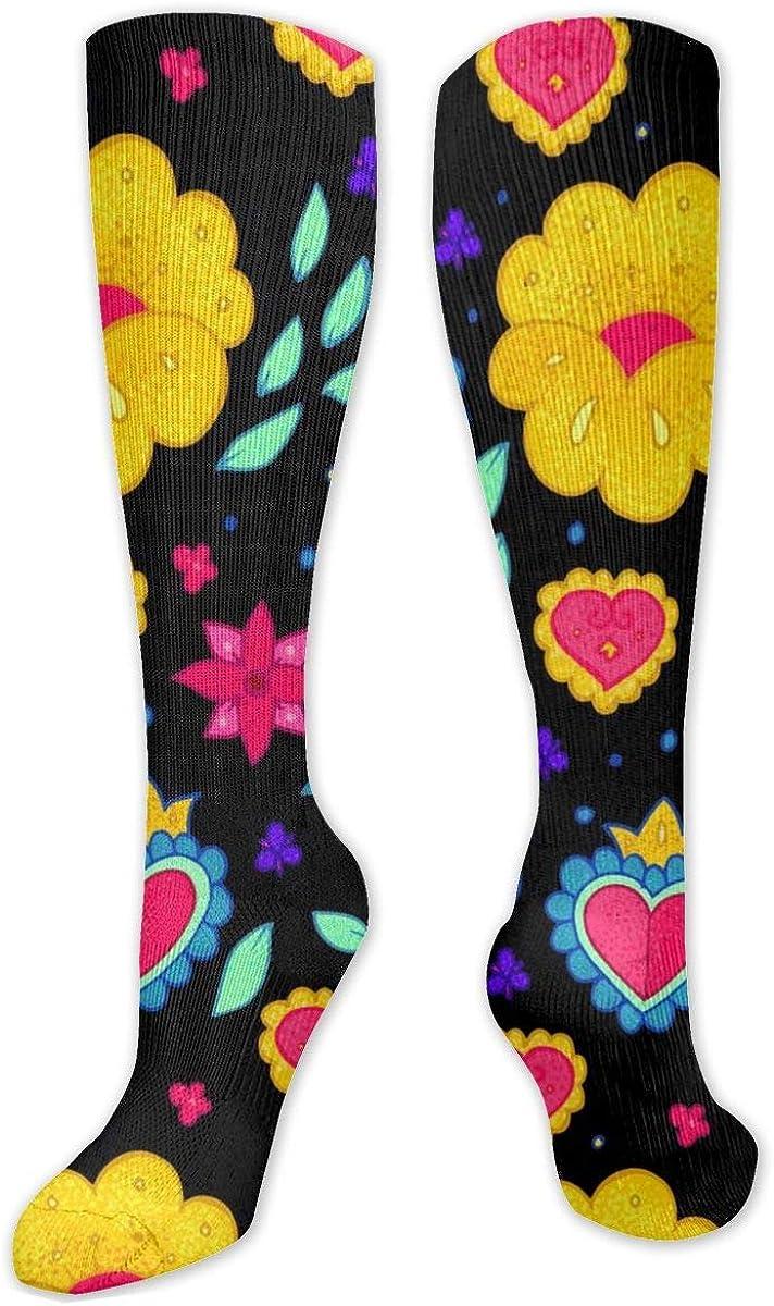 Skull Flowers Knee High Socks Leg Warmer Dresses Long Boot Stockings For Womens Cosplay Daily Wear