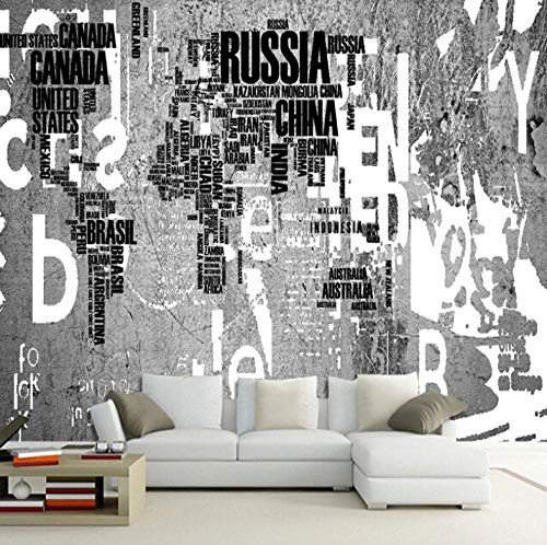 Photo Wallpaper Wall Mural Industrial Style Letters World Map Modern Non-Woven Murals 3D Picture Poster Living Room Kids Bedroom Office Home Decoration XXL Wallpaper Photoposter Mural,250x175cm