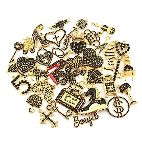 Bling Rhinestone Charms EllyBling Fashion Alloy Charm Set for Jewelry Making Accessories DIY, 35 PCS (gold plated black rhinestone)