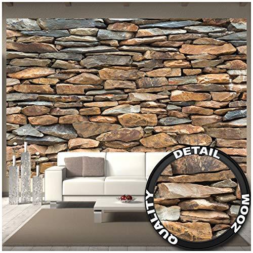GREAT ART Fototapete – Schiefer Stonewall – Wandbild Dekoration 3D Steintapete Stein Muster Tapete Steinoptik Wand Schiefergestein Steinverkleidung Wandtapete Fotoposter Wanddeko (336 x 238 cm)