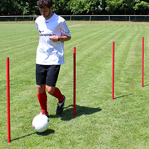 Superspieler24 5 x Slalomstange 100 cm mit Metallspitze, ø 32 mm (rot), Fußballtraining