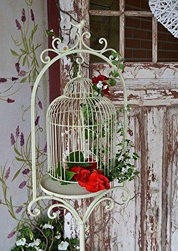 Vogelkäfig Deko Vintage mit Ständer aus Metall - Deko Vogelkäfig Groß 155cm Antiker Vogelkäfig Weiß -Dekokäfig als Blumenkäfig verwendbar - Vogelkäfig Antik Dekoration für Haus und Garten