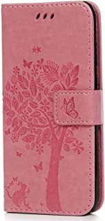Desktop Cell Phone Stand Huawei Y6 2018 Case, Honor 7A Case, Shockproof PU Leather Flip Wallet Case Cat Tree with Card Hol...