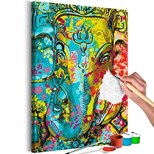 murando Pintura por Números Ganesha 40x60 cm Cuadros de Colorear por Números Kit para Pintar en Lienzo con Marco DIY Bricolaje Adultos Niños Decoracion de Pared Regalos n-A-1618-d-a