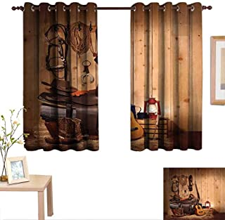 Luckyee Western Decor Curtains by American Texas Style Country Music Guitar Cowboy Boots USA Folk Culture Print 55