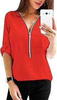 YOINS Camicia Donna Elegante Autunno Bluse Manica Lunga Inverno Casuale Camicetta T-Shirt Scollo a V Magliette Blusa Zip Tops
