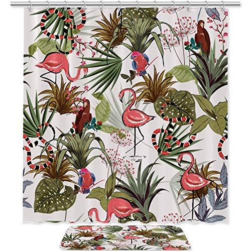 TIZORAX Flamingo-Schlange & Papagei mit Blumen-Bad-Duschvorhang-Satz mit Rutschfester Badezimmer-Wolldecke-Boden-Matten-Inneneinrichtung