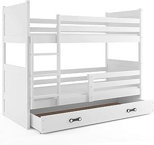 Interbeds Lit superposé Rico 190x90 avec Matelas sommiers et tiroir (Blanc+Blanc)