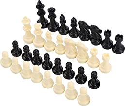 Zer one Chess Pieces 32PCS Plastic Magnetic Replacement Chess Figures Weighted Chess Pawns Set White and Black