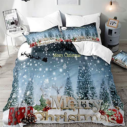 Kerst Dekbedovertrek Set voor Eenpersoons Dubbel King Bed, Morbuy 3D Gedrukt Beddengoed Sets Jongen Meisje Slaapkamer…