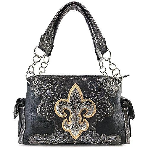 Justin West Fleur De Lis Angel Wings Concealed Carry Handbag Purse (Black Handbag)