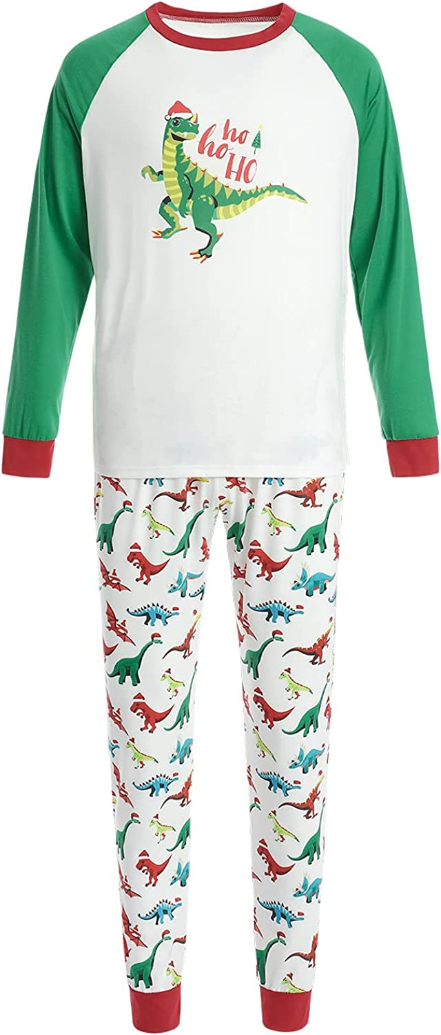 2021 Christmas Cute Family Pajamas Set, Dinosaur Print Long-Sleeved O-Neck Pullover + Trousers/Jumpsuit