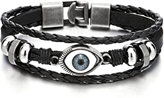 Mens Womens Three-Row Leather Black Evil Eye Beads Charms Bracelet Wristband Wrap Bracelet